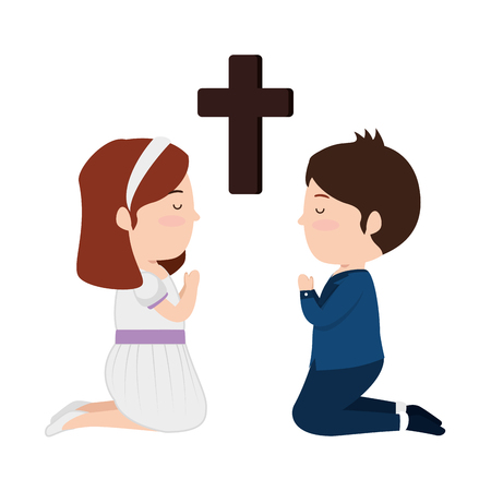 little kids kneeling with cross first communion vector illustration design