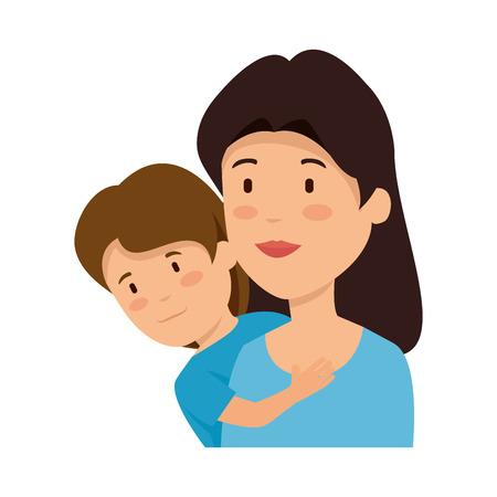beautiful mother lifting son vector illustration design Illustration
