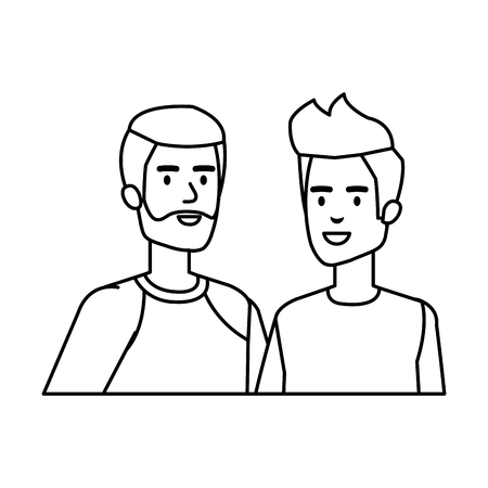 young and casual couple men characters vector illustration design