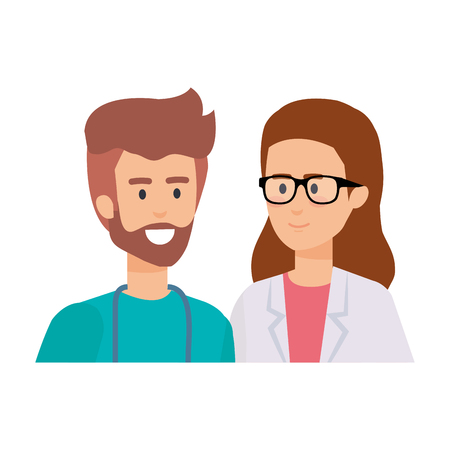 couple of professionals doctor and surgeon characters vector illustration design Stock Vector - 121566125