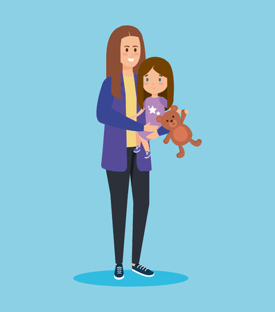 happy woman with cute daughter and teddy vector illustration Illustration