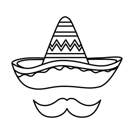 mexican hat mariachi with mustache vector illustration design Çizim
