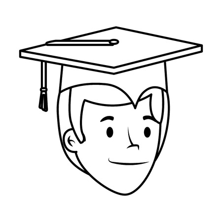 young student graduated head character vector illustration design Stock Vector - 122916643