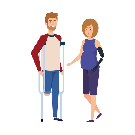 man in crutches with woman with prosthesis vector illustration design