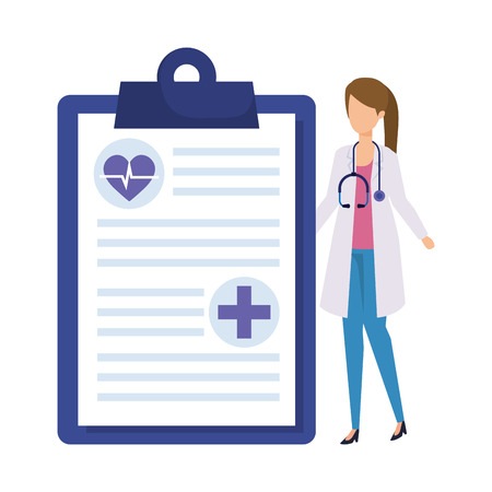 female doctor with stethoscope and medical order vector illustration design Çizim