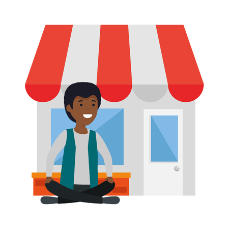 young black man in lotus position with store building vector illustration design