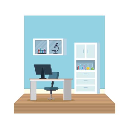 laboratory office workplace scene vector illustration design Stok Fotoğraf - 122916691