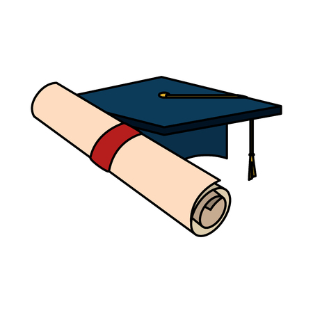 graduation certificate roll and hat vector illustration design Illustration