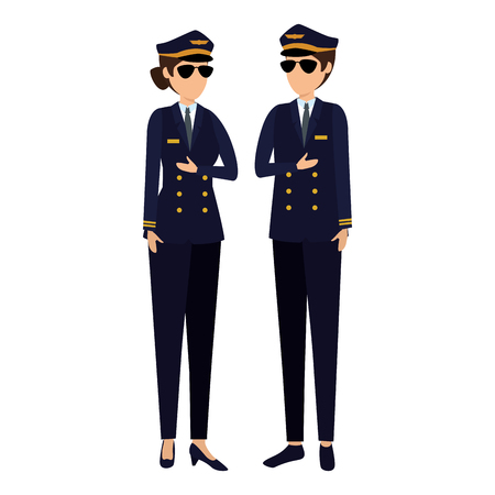 aviation pilots couple avatars characters vector illustration design Archivio Fotografico - 121573215