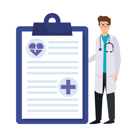 doctor with stethoscope and order vector illustration design