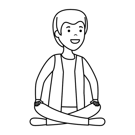 young and casual man with lotus position vector illustration design Foto de archivo - 121587868