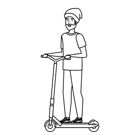 young man in folding scooter vector illustration design Imagens - 122916806