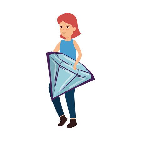 woman lifting diamond luxury vector illustration design Standard-Bild - 122916816