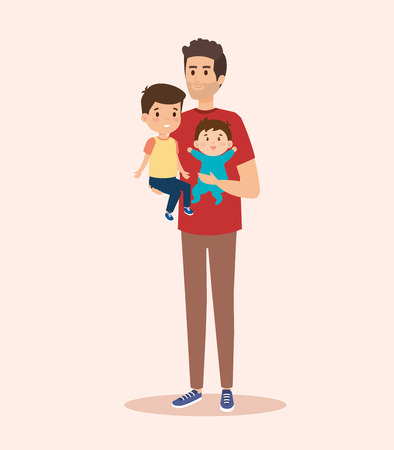 happy man carrying his cute sons vector illustration