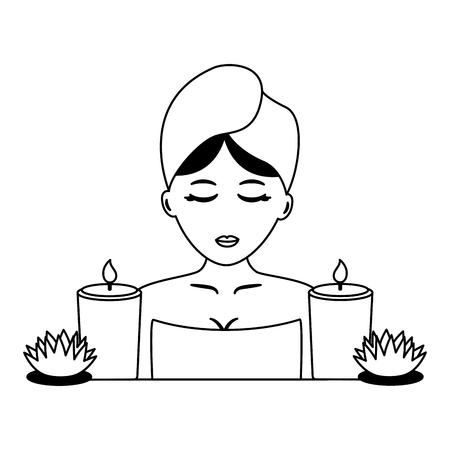 woman with towel candles and flowers spa vector illustration Archivio Fotografico - 122916843