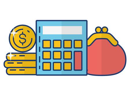 calculator money purse online payment vector illustration Foto de archivo - 122918523