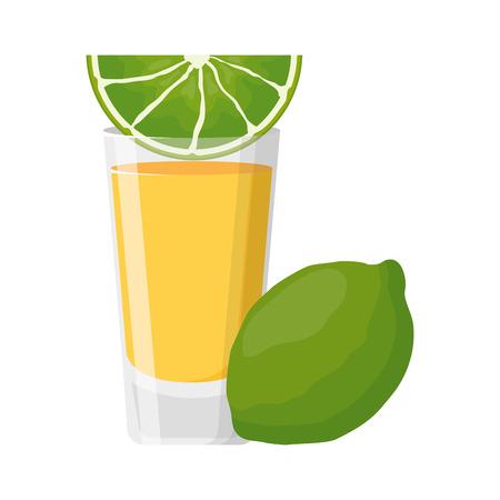 beverage shot with lemon drink vector illustration Çizim