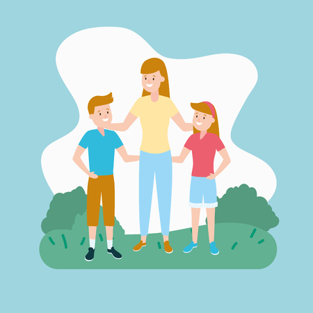 mom with son and daughter vector illustration Foto de archivo - 122918565