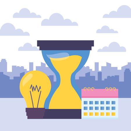 hourglass clock calendar bulb work time vector illustration