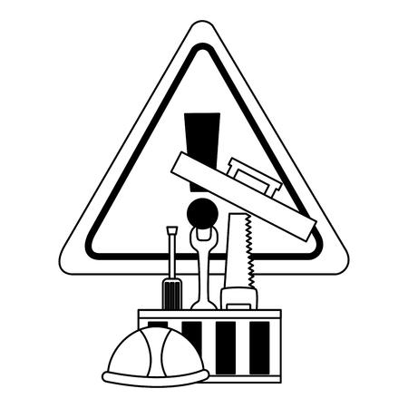 toolbox saw screwdrvier spanner helmet tool construction equipment vector illustration Çizim