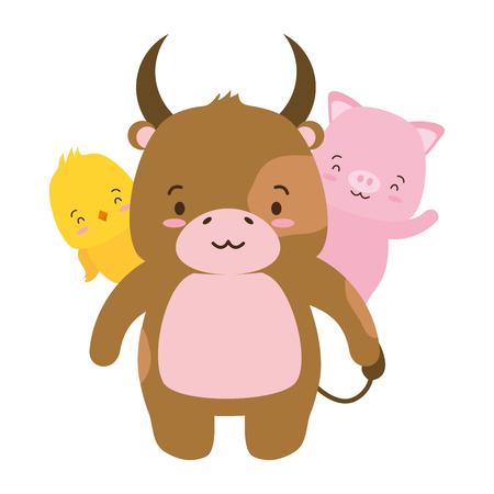 cute bull pig and chicken cartoon vector illustration