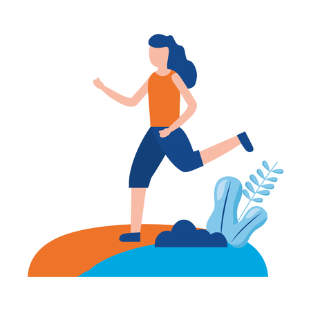 woman training sport activity outdoors vector illustration