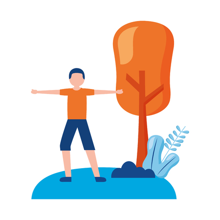 young man practicing exercise outdoors vector illustration 向量圖像