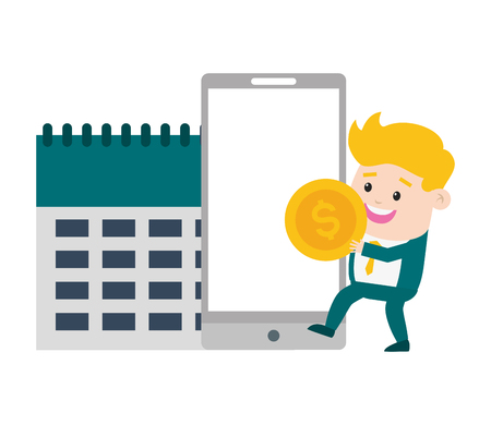 businessman mobile calendar money online payment vector illustration Ilustrace