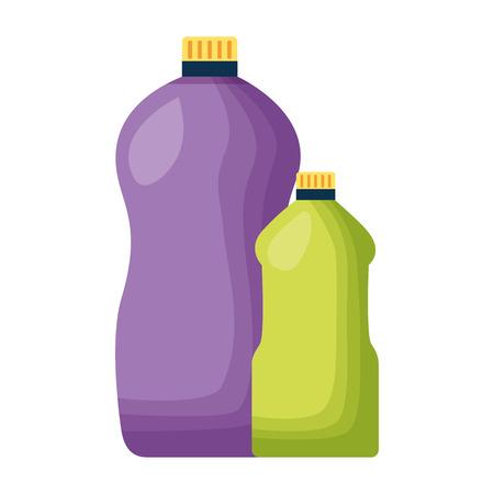 Nettoyage de l'outil de bouteilles de détergent sur fond blanc vector illustration