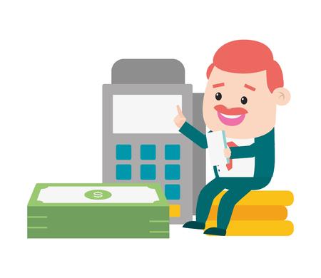 businessman pos terminal money online payment vector illustration