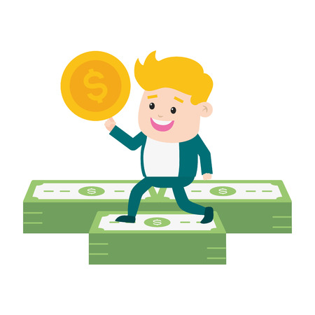 businessman banknote coin money online payment vector illustration