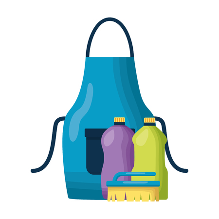 apron liquid detergent spring cleaning tools vector illustration