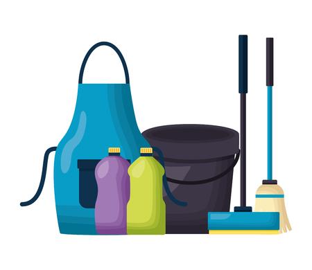 Tablier seau bouteilles balai raclette outils de nettoyage de printemps vector illustration
