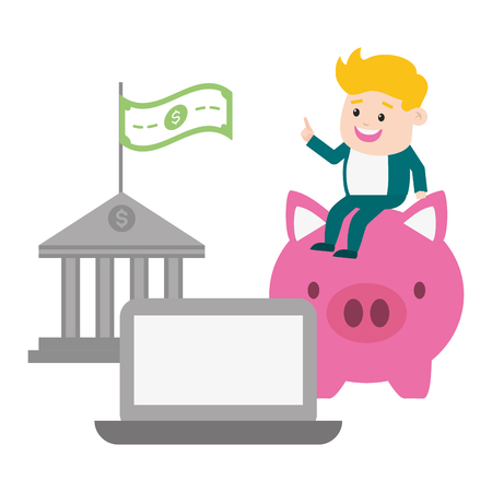 businessman laptop piggy and bank money online payment vector illustration Standard-Bild - 121591278