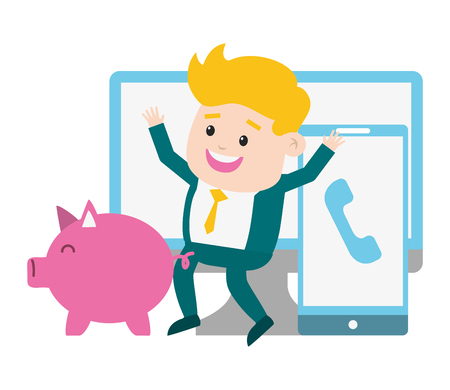 businessman mobile computer piggy bank online payment vector illustration 写真素材 - 122918634