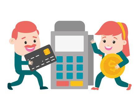 people with pos terminal and bank card money online payment vector illustration