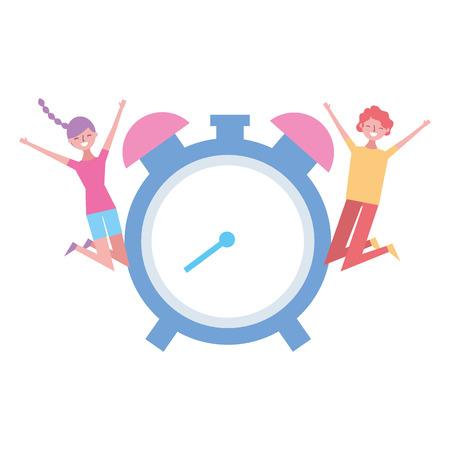 happy man and woman clock alarm vector illustration Stock Vector - 121591668