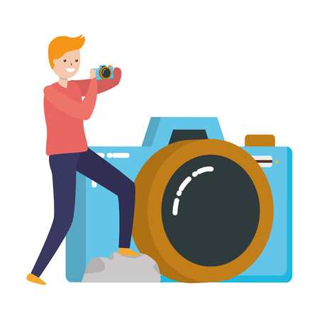 man taking photo with camera device vector illustration Imagens - 122918645