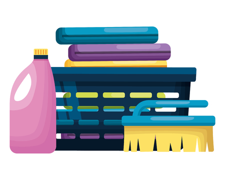 laundry clothes shampoo brush spring cleaning tools vector illustration Illustration