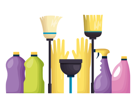 spring cleaning tools gloves plunger broom mop wall tiles vector illustration