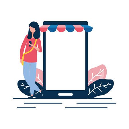woman using cellphone ecommerce market vector illustration 일러스트