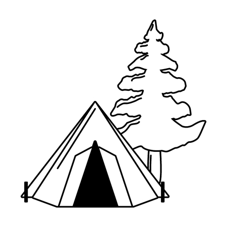 camping tent tree on white background vector illustration Ilustração
