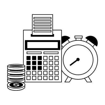 calculator clock coins tax time payment vector illustration 版權商用圖片 - 122918694