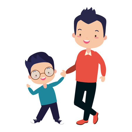 dad and son holding hands - fathers day Illustration