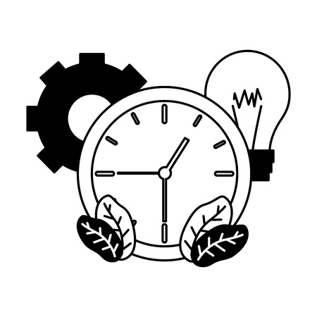 work clock time bulb gear