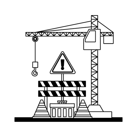 crane construction barricade toolbox warning sign tools vector illustration Ilustracja