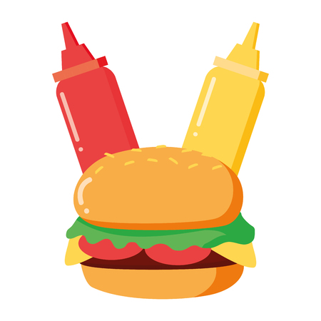 burger and sauces on white background vector illustration Archivio Fotografico - 121596542