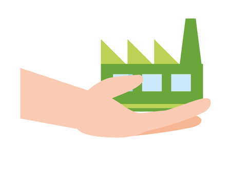 hands with factory ecological earth day card vector illustration