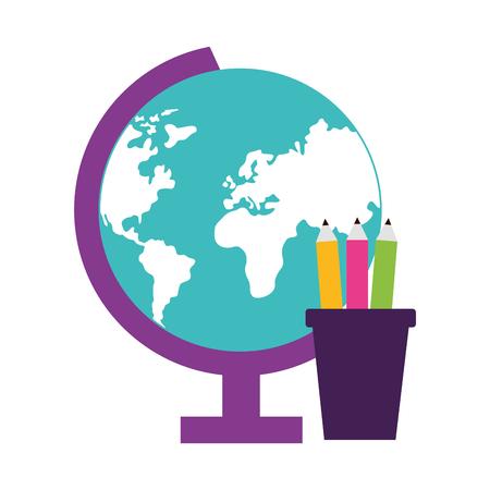 school globe pencils supplies vector illustration design
