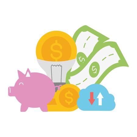 piggy bank cloud storage money idea online payment vector illustration Illustration